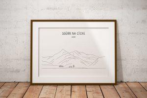 Sgùrr na Cìche line art print in a picture frame