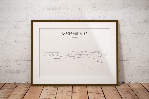 Shropshire Hills line art print in a picture frame