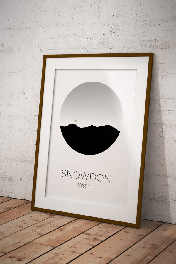 Snowdon art print in a picture frame