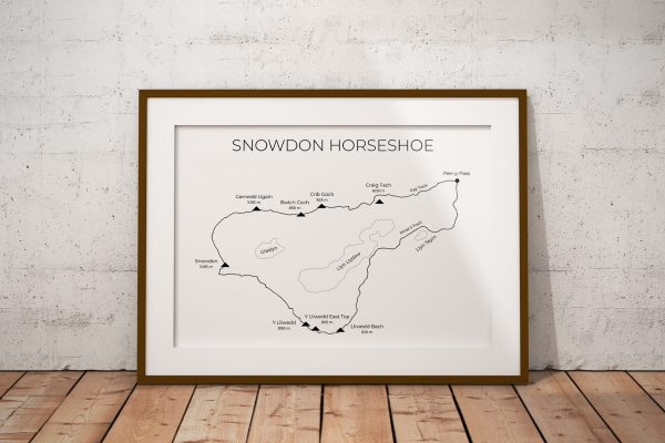 Snowdon Horseshoe route art print in a picture frame