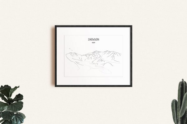 Snowdon line art print in a picture frame