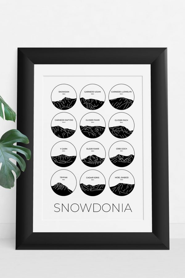 Snowdonia light collage art print in a picture frame
