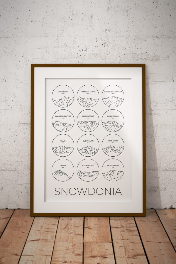 Snowdonia line art collage print in a picture frame