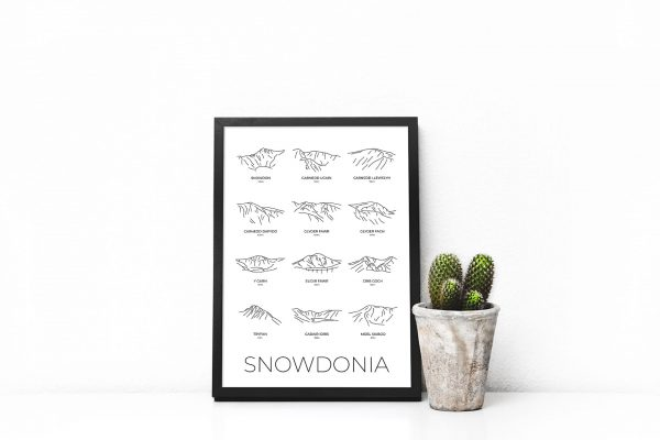 Snowdonia line art group print in a picture frame