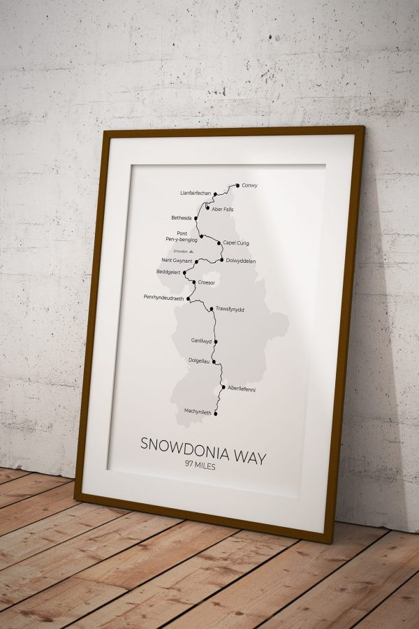 Snowdonia Way route map art print in a picture frame