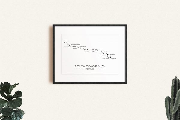 South Downs Way art print in a picture frame