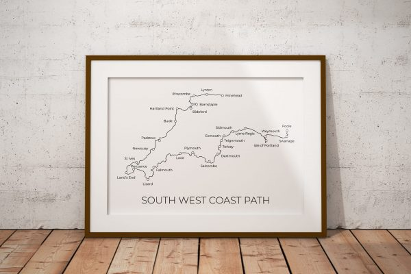 South West Coast Path markable map art print in a picture frame