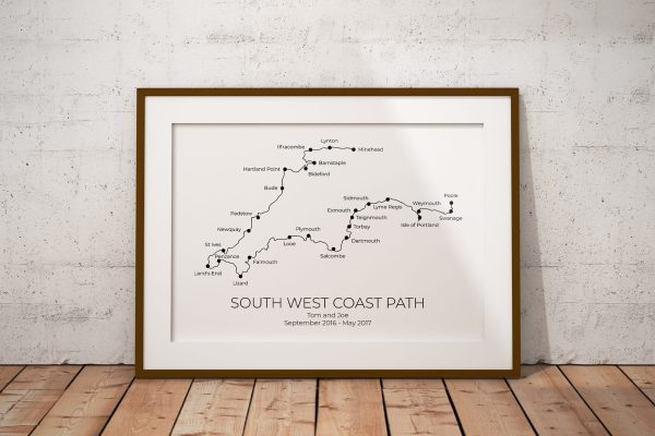 South West Coast Path Personalised Print Example