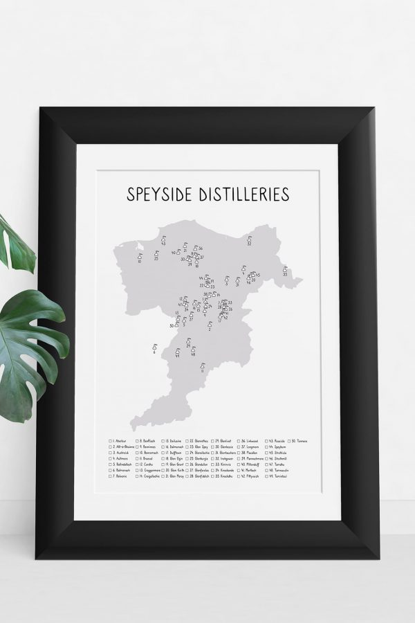 Speyside Distilleries shaded map art print in a picture frame