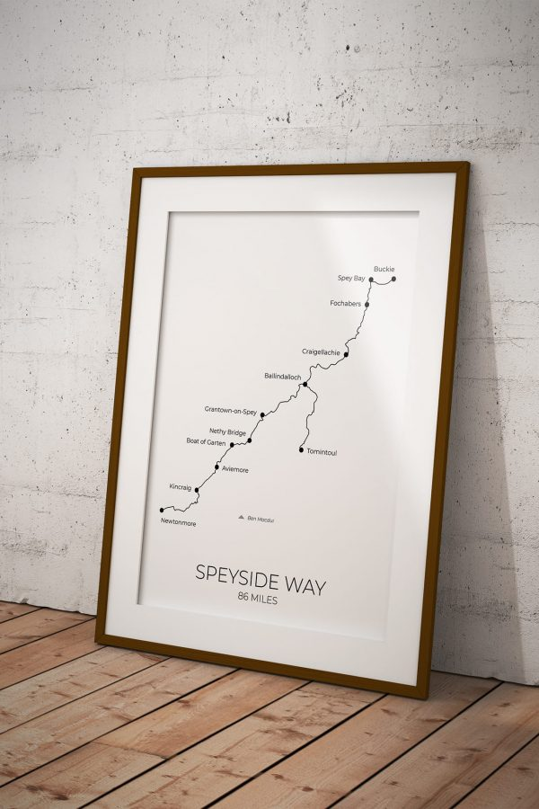 Speyside Way art print in a picture frame