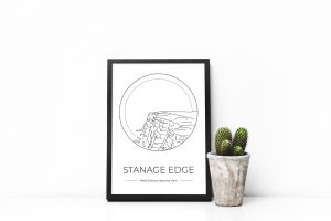 Stanage Edge art print in a picture frame