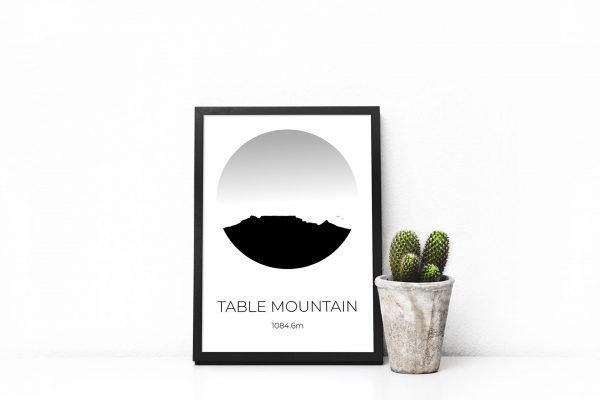 Table Mountain silhouette art print in a picture frame