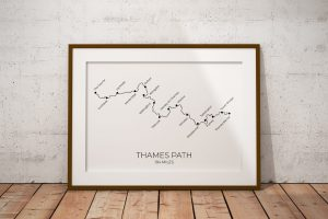 Thames Path art print in a picture frame