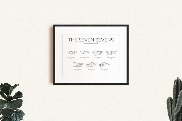 Mourne Seven Sevens Challenge line art print in a picture frame