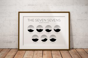 Mourne Seven Sevens Challenge silhouette art print in a picture frame