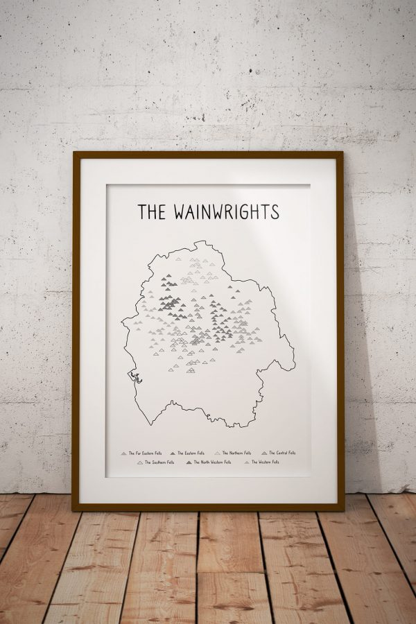 The Wainwrights map art print in a picture frame