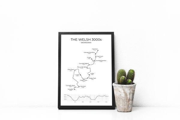 The Welsh 3000s route art print in a picture frame