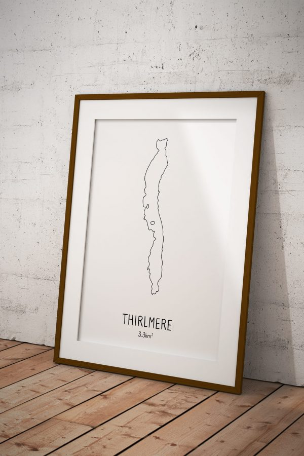 Thirlmere line art print in a picture frame