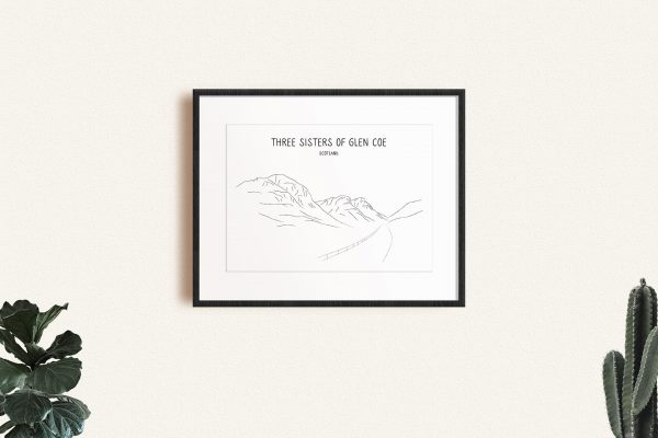 Three Sisters of Glen Coe line art print in a picture frame