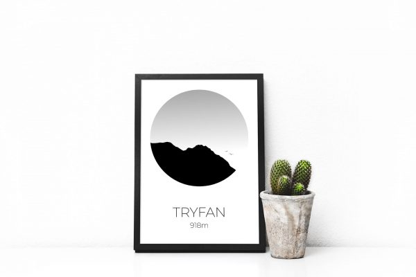 Tryfan silhouette art print in a picture frame