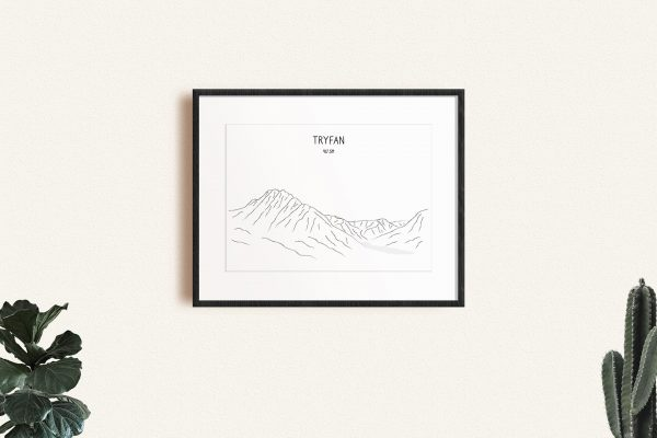 Tryfan line art print in a picture frame