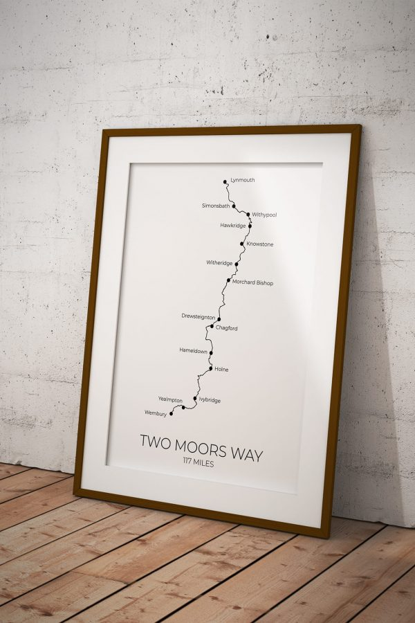 Two Moors Way art print in a picture frame