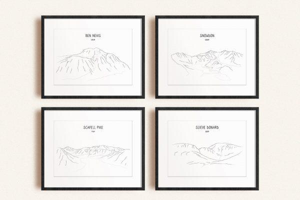 UK Four Peaks line art print set in picture frames