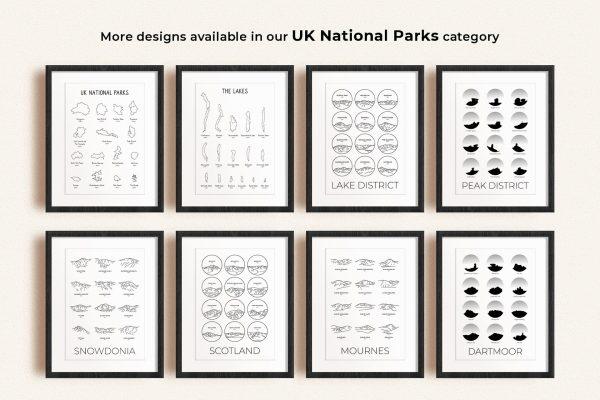 UK National Parks art prints in picture frames
