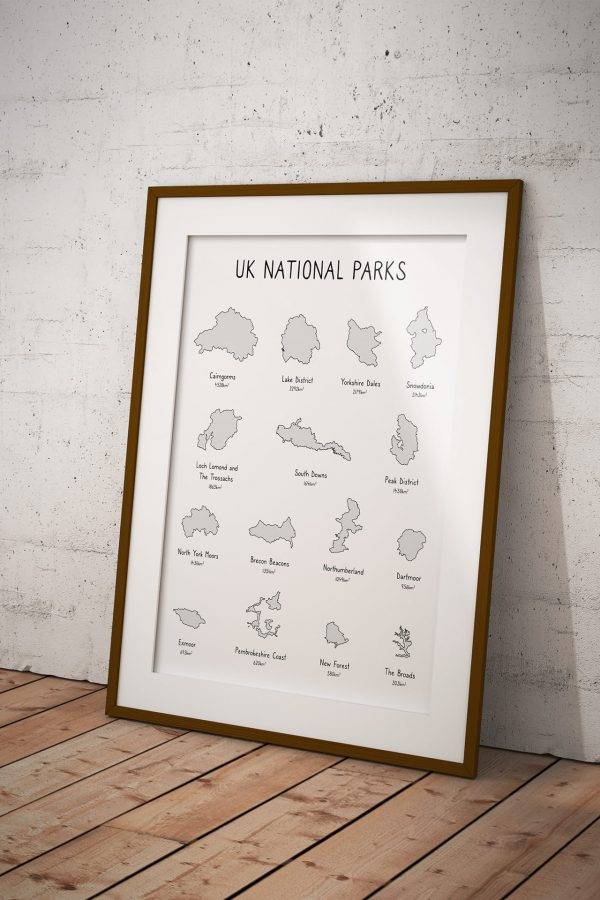 UK National Parks shaded line art print in a picture frame