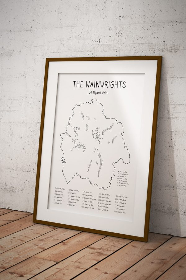 Wainwrights 30 Highest Fells Checklist Map art print in a picture frame
