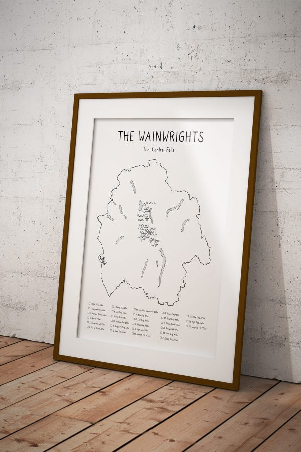 Wainwrights Central Fells Checklist Map art print in a picture frame