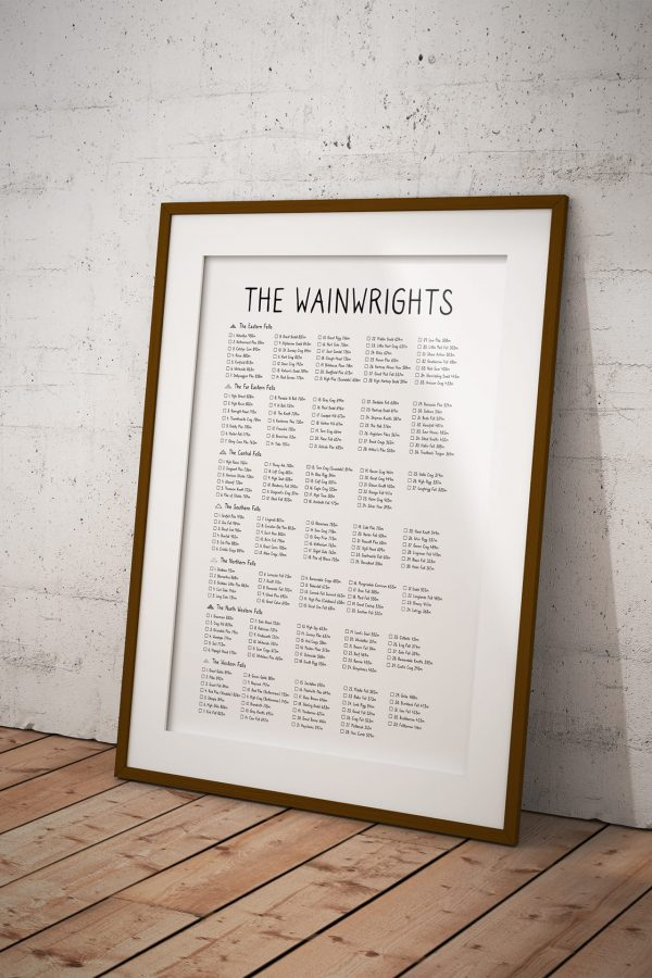 Wainwrights Checklist art print in a picture frame