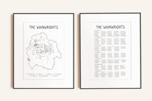 Wainwrights Numbered Map & Checklist Art Print Bundle in picture frames
