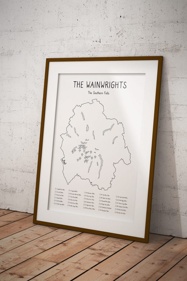 Wainwrights Southern Fells Checklist Map art print in a picture frame