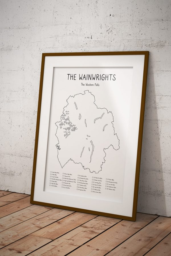 Wainwrights Western Fells Checklist Map art print in a picture frame
