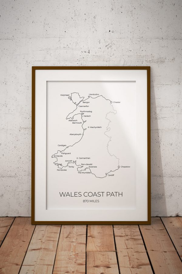 Wales Coast Path markable map art print in a picture frame
