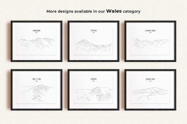 Wales line art prints in picture frames