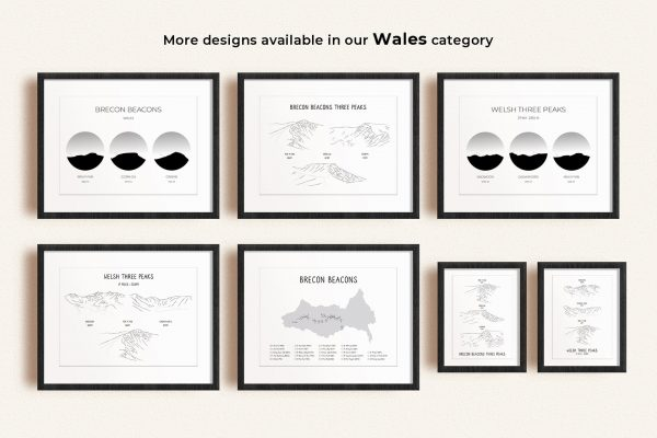 Wales Three Peaks art prints in picture frames