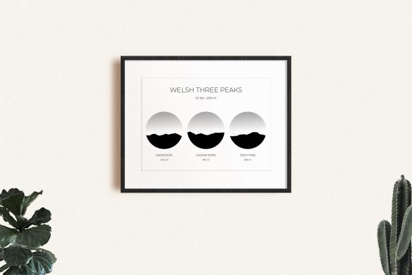 Welsh Three Peaks Challenge art print in a picture frame