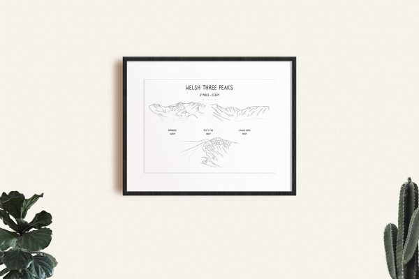 Welsh Three Peaks Challenge horizontal line art print in a picture frame