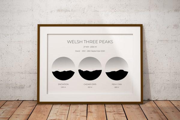 Welsh Three Peaks Challenge Personalised Print Example