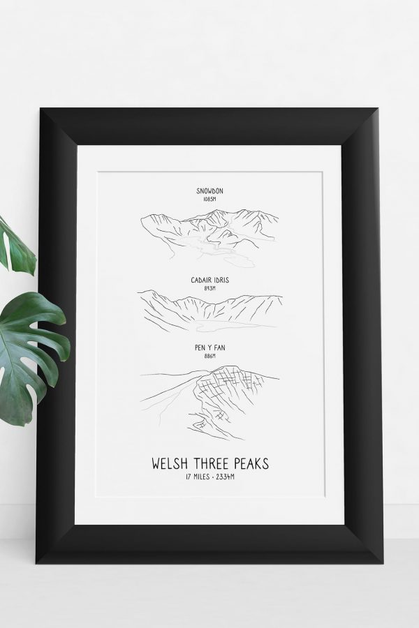 Welsh Three Peaks Challenge vertical line art print in a picture frame