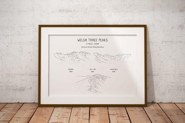 Welsh Three Peaks Horizontal Line Art Personalised Print Example