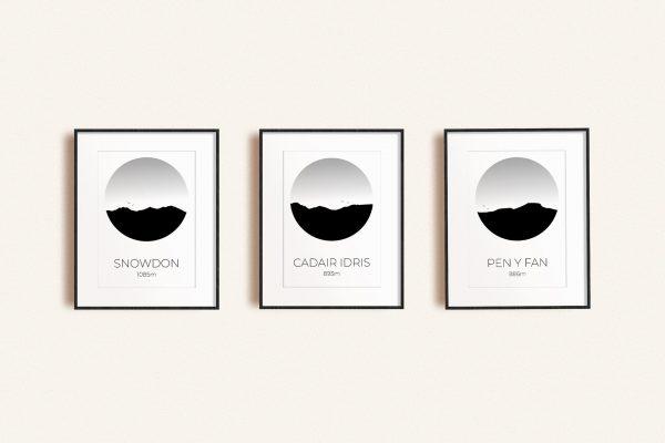 Welsh Three Peaks set of 3 art prints in picture frames