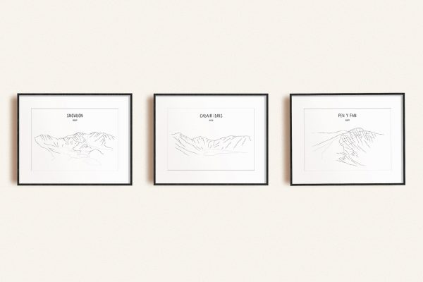Welsh Three Peaks set of three line art prints in picture frames