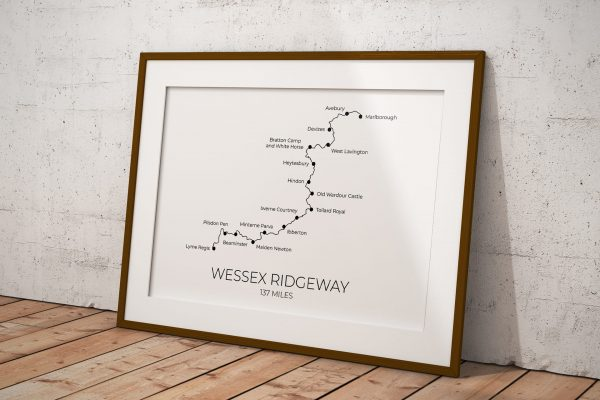 Wessex Ridgeway art print in a picture frame