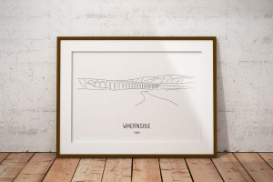 Whernside line art print in a picture frame