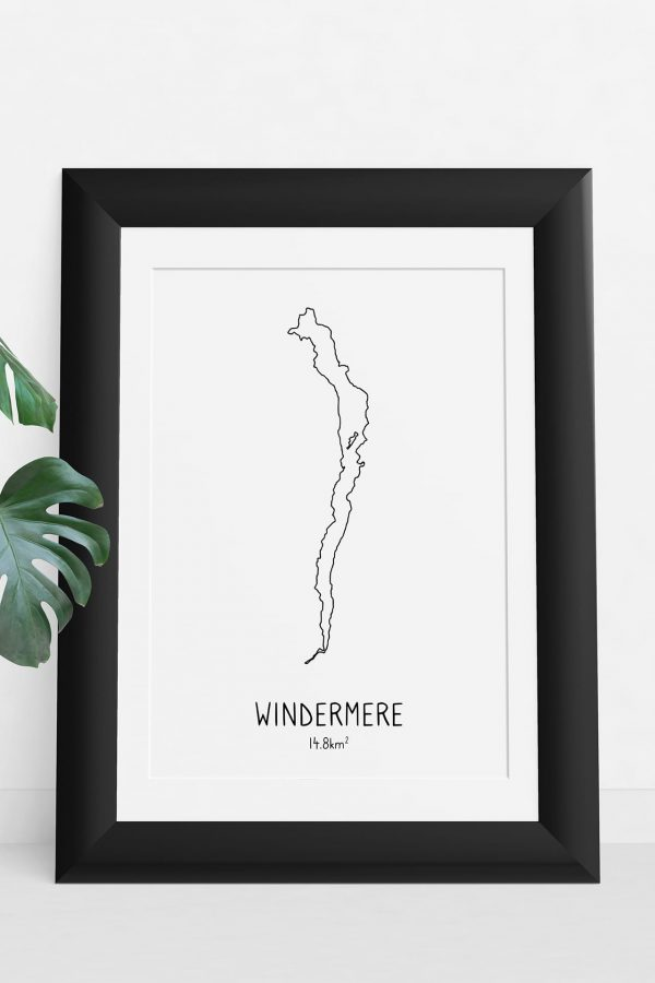 Windermere art print in a picture frame