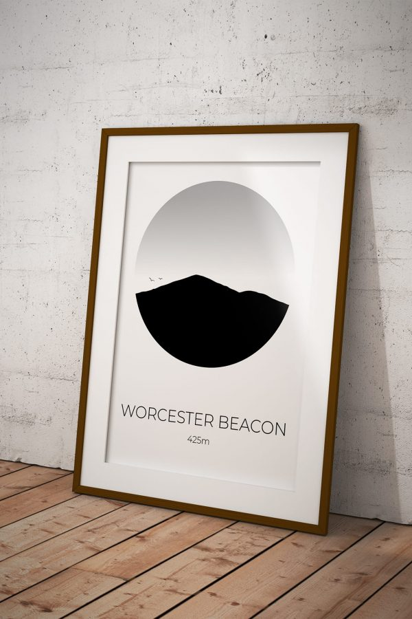 Worcester Beacon art print in a picture frame