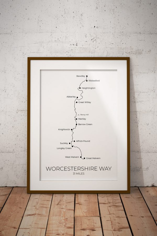 Worcestershire Way art print in a picture frame